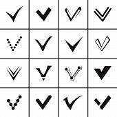 Confirm signs and tick icons set