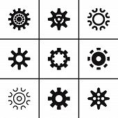 Gears and cogwheel icons set
