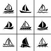 Sail boat icons set