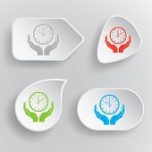 clock in hands. White flat vector buttons on gray background.