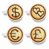 Cappuccino With Money And Heart Signs