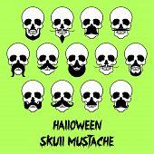 13 Halloween skull mustache