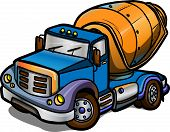 Cartoon Concrete Mixer. Isolated