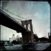 Instagram filtered style image of the Brooklyn Bridge