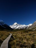 stock photo of hookers  - Mt Cook is the center attraction of Hooker Valley NZ - JPG
