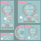 Cute bridal shower design  template set with flowers