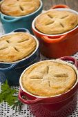 Four homemade gourmet meat pies close up