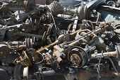 Pile of rusty car parts