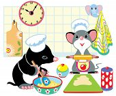 mole and mouse preparing dough