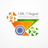 Creative concept for Indian Independence Day celebrations with triangles in national tricolors and A
