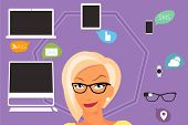 Blond woman thinking about gadgets and applications around her