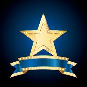 vector golden bulb star with blank blue bulb banner