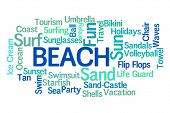 Beach Word Cloud with White Background