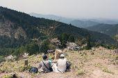 YOSHINO, JAPAN - April 17th : Tourists sit down and have a picnic at Yoshino Mountain, Yoshino, Nara, Japan on April 17th, 2014.