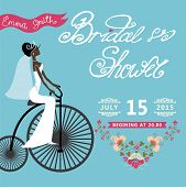 Bridal Shower  invitation with bride, floral border,retro bicycl