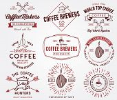 Coffee Badges And Labels Colored