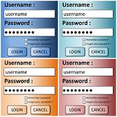 Set of login forms