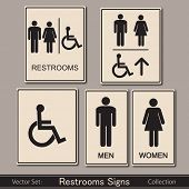 Restroom signs collection vector illustration