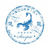 stock photo of scorpio  - Blue grunge rubber stamp with the symbol of Scorpio - JPG