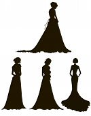 young women in long dresses silhouettes. Brides. Outline.