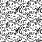 Sketch Baseball Ball And Glove,  Seamless Pattern