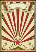 Circus red color. A grunge circus poster with red sunbeams for your advertising.