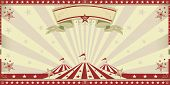 circus red invitation. Circus invitation with sunbeams. A retro invitation card for your circus company.
