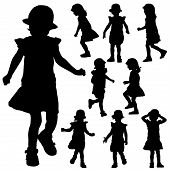 Silhouettes of small girl on the white background