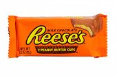 LAKE FOREST, CALIFORNIA - July 25, 2014: Reese's Peanut Butter Cup candy. Reese's was first introduced in 1928 and is now part of the Hershey Company.