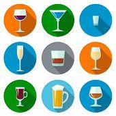 set of flat design alcohol glasses icons