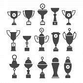 Vector icons set of silhouette sport award cups.