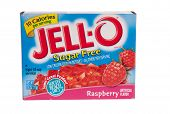 Hayward, CA - July 24, 2014: Jello brand sugar free gelatin in raspberry flavor