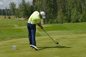 TSELEEVO, MOSCOW REGION, RUSSIA - JULY 24, 2014: John Hahn of USA in action in the Tseleevo Golf & P