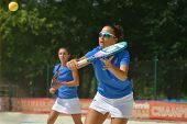 MOSCOW, RUSSIA - JULY 18, 2014: Federica Bacchetta (in front) and Sofia Cimatti of Italy in the matc