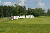 TSELEEVO, MOSCOW REGION, RUSSIA - JULY 24, 2014: M2M Russian Open sign in the Tseleevo Golf & Polo C