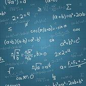 Mathematical formulas vector seamless pattern on blueprint. Vector