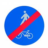 End Of Bike And Pedestrian Lane Sign On White