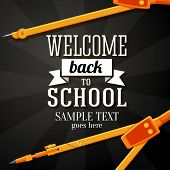Welcome back to school greeting card with place for your text, and dividers on chalkboard background