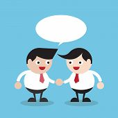 2 businessman handshaking with empty speech bubble, Business concept.