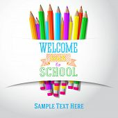 Welcome back to school hand-drawn greeting with color pencils under the paper ribbon. Vector