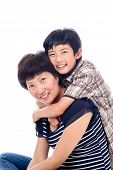 Boy Hugs Mom Affectionately.