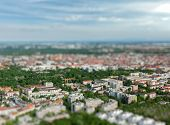 Aerial view of Munich from Olympiaturm (Olympic Tower) with tilt shift toy effect shallow depth of f