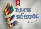 Welcome back to school. Vector illustration. Elements are layered separately in vector file. Easy ed