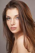 sensual closeup portrait of fashion lady with beautiful hair