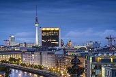 Berlin, Germany city skyline at night.