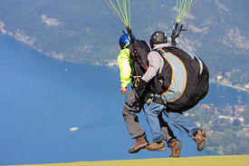 foto of annecy  - tandem paraglider launching flight above Lake Annecy  - JPG