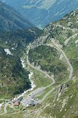 Road And Buildings Nearby Sustenpass In Alps In Switzerland