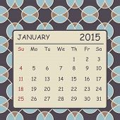Calendar January 2015 Design. Circles Pattern Background
