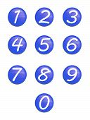 Set Blue Buttons With Numbers