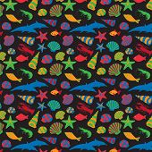 Sea Animals Background Pattern. Vector Flat Style